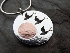 Silver Birds and Copper by ThemSilverSeas on Etsy, £45.00