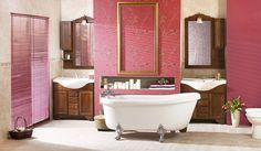 Traditional Double Vanity Bathroom Idea With Acrylic Clawfoot Tub