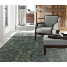 """Seville Hand-tufted Blue Wool and Viscose Damask Area Rug (8'6 x 11'6) (SV-750 912), Size 8'6"""" x 11'6"""""""