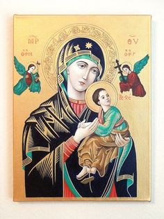 Reduced - Religious Icon - Our Lady of Perpetual Help, Oil Painting Religious Pictures, Religious Icons, Religious Art, Mother Mary Images, Saint Philomena, Wolves And Women, Christ Is Risen, Religion Catolica, Religious Paintings