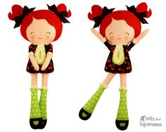 Button Joint Doll PDF Sewing Pattern Easy Rag Doll cloth dolly Tutorial DIY Girl Toy - Miss Tippy Toes by DollsAndDaydreams on Etsy https://www.etsy.com/listing/163225250/button-joint-doll-pdf-sewing-pattern