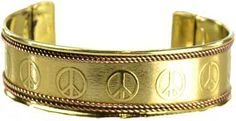 "Engraved with a pattern of peace signs, this open backed, brass bracelet is beautifully framed both top and bottom by braided copper rope work. Brass & Copper. 3"" x 3/4"" - See more at: http://www.mythical-gardens.com"