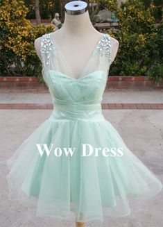 Mint Prom Dress/ Mint Ball Gown/ Short Prom Dress/ Rhinestone Tulle/ Sweetheart Strapless Dress
