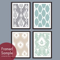 Ikat Patterns (Series A) Set of 4 - 13x19 Art Prints (Featured in Dolphin, Slate Blue, French Grey and Silver Sage). $59.85, via Etsy.