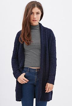 Heathered Open-Front Cardigan   Patterened T-Shirt | C'est la Chic ...