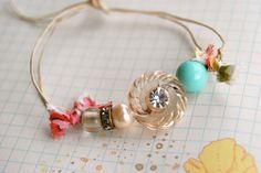Candy girl. vintage rhinestone button,beaded,string bracelet. Tiedupmemories