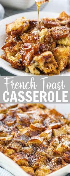 French Toast Bake, Easy French Toast Casserole, Brunch Casserole, Making French Toast, Easy Baked French Toast, French Toast Caserole, Baked French Toast Overnight, French Toast Recipes, Breakfast Casserole French Toast