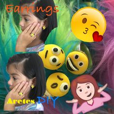 Emoji earrings/Aretes & anillo de emojis DIY