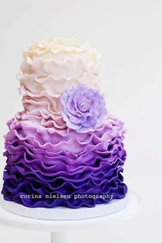 Mili's Sweets purple ruffle cake  By milisweet on CakeCentral.com