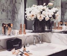"""""""Here you'll be able to inspire yourself about using Marble Bathroom Designs on your projects. Black rose gold and marble bathroom. Bathroom Goals, Gold Bathroom, Bathroom Interior, Bathroom Ideas, Bathroom Inspo, Marble Bathrooms, Bathroom Designs, Marble Interior, Small Bathroom"""