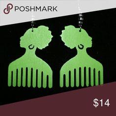 Jewelry Green wooden earrings Jewelry Earrings