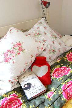 """comfy bed with a hot water bottle and a book I still want to read """"Death at Pemberly"""" Bedroom Vintage, Vintage Decor, Queen, Textile Design, Dorm Room, Home Accessories, Sweet Home, Throw Pillows, Bedrooms"""