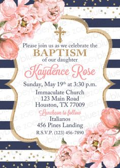 Girl Baptism Invitation  Blush Pink Navy & Gold Baptism