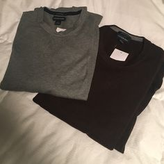 NWT 2 Mens Lands End size LG sweaters. NWT Mens Lands End size LG sweaters. 100% supima cotton. 1 gray and 1 red/brown Lands' End Sweaters Crew & Scoop Necks