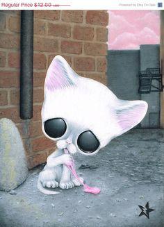 ON SALE Sugar Fueled Pity Kitty White Cat Bubble by Sugarfueledart