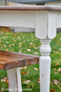 Distressed/antiqued Farmhouse Table and Rustic Bench.  Rustique Restoration