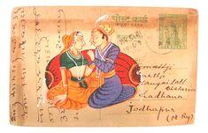Postcard Original Vintage Miniature Painting on Vintage