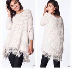 Boutique SUPER SOFT Lavender Fringe Oversized Batwing Tunic Boho Chic Sweater  #BoutiqueLabeled #Cardigan