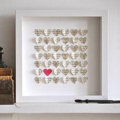 Framed Vintage Paper Heart Artwork