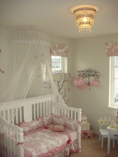 baby girl bedroom themes crib net clothes hooks desk chair boxes chandelier shabby chic style of Fabulous Baby Girl Bedroom Themes to Adopt