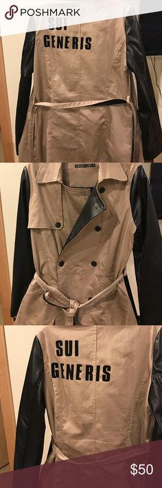 """Custom trench Sui generis Custom lettered trench coat. Traditional tan trench with faux letter sleeves. Sui generis is Latin for """"of its own kind"""" size L but fits medium as well. Scarf not included. Jackets & Coats Trench Coats"""