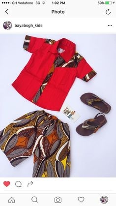 Design Name: BORESSA. Made with a combination of African print and polished cotton. African wear for kids. African fashion for kids.  Shorts with a matching shirt and sandals made with African wax print. BAYABS is located in Sunyani, Ghana. We ship world wide. +233208404882(Whatsapp/ Viber) find us in Instagram: @bayabsgh_kids @bayabsaccessories #AfricanKidsFashion