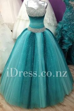 ombre teal sleeveless ball gown puffy vintage prom dress