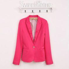 Fashion Womens Candy Color Basic Slim Foldable Suit Jacket Blazer Coat 6 Colors | eBay