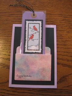 Bookmark card in library pocket--Stamp credits - cardinals by Memory Box, Happy Birthday by A Muse Artstamps
