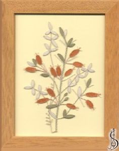 Blossom-berberis No. 10113 Cinnamon frame with glass, dimensions 15 x Lace Making, Bobbin Lace, Lace Flowers, White Lace, Blue Green, Trees, Leaves, Fruit, Glass