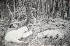Bearing the Woods, 2013  [oil on linen 48 × 72 in 121.9 × 182.9 cm]   https://artsy.net/artwork/hugo-bastidas-bearing-the-woods