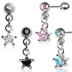 Implant Grade Surgical Steel Cartilage Earring with a chained star.Prong set Star CZ dangling from a Cartilage Barbell.Color matching CZ on the front of Barbell. Cute Cartilage Earrings, Tragus Piercing Jewelry, Conch Jewelry, Barbell Earrings, Tragus Earrings, Tiny Stud Earrings, Emerald Earrings, Rose Gold Earrings, Body Jewelry
