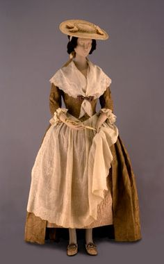 Gown and accessories. England, Europe, and China, 1740–1785. Silk, linen, cotton, straw, ivory, paper, feathers, and leather. Various dimensions.