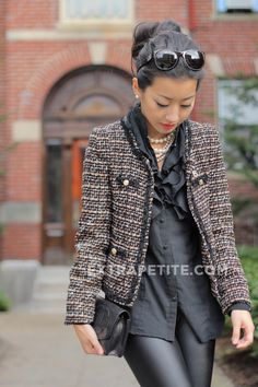 ExtraPetite.com - Faux leather   cropped tweed