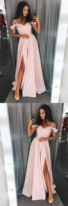A-Line Cold Shoulder Red Satin Prom/Evening Dress with Split PG616 #promdress #eveningdress #dress #partydress #pgmdress #fashion #pink #aline