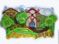 Пейзаж ручной работы. Ярмарка Мастеров - ручная работа. Купить Летний пейзаж с мельницей. Handmade. Ярко-зелёный, панно с мельницей