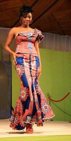 African long dress: light red snd blue