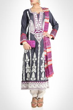 Grey Embroidered Suit Coupled With Printed Dupatta
