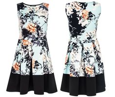 0d0018959e Extra Off Coupon So Cheap Quiz Oriental Floral Print Fit   Flare Skater  Dress Contrast Panel Hem Size 10