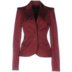 Flavio Castellani Blazer ($245) ❤ liked on Polyvore featuring outerwear, jackets, blazers, maroon, long sleeve jacket, maroon blazer, multi pocket jacket, collar jacket and lapel jacket