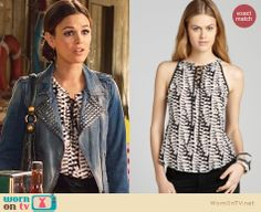 Zoe's black and white printed top on Hart of Dixie. Outfit Details: http://wornontv.net/22284 #HartofDixie