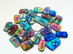 Elder Futhark Runes Set made entirely out of Dichroic Fused Glass. Available soon at www.honeycatjewelry.etsy.com