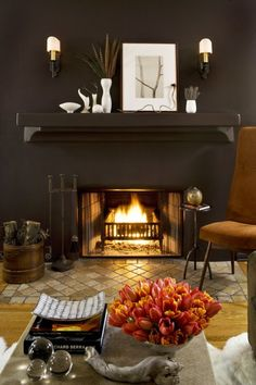i like how the fireplace blends with the wall...