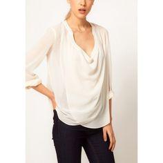 V Neck Long Sleeve Crisscross Chiffon Shirt