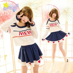 """Color:white pullover.blue skirt. Size:S.M.L. Pullover size S: Length:41cm/15.99"""".Bust:88cm/34.32"""".Sleeve length:52cm/20.28"""". Pullover size M: Length:43cm/16.77"""".Bust:94cm/36.66"""".Sleeve length:54cm/21."""
