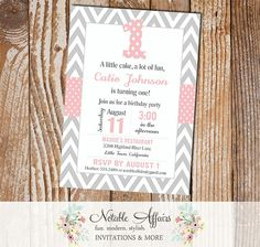 One 1st First Birthday  Gray Chevron and Light Blush Pink Invitation - can be for any age!
