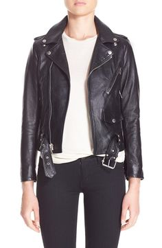 Saint Laurent Saint Laurent Studded Lambskin Leather Moto Jacket available at #Nordstrom