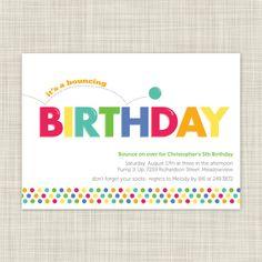 Kids Birthday Party Invitations - Childrens Birthday Invites - Bounce House Party - Printable. $18.00, via Etsy.