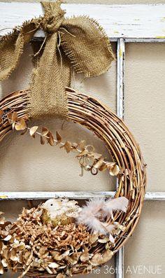 burlap and twig baby bird wreath - Decorating Ideas