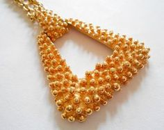 Vintage Designer Gold Tone Signed Sarah Coventry Knobbly Textured Articulated Open Work Chain Statement Necklace Pendant - Golden Sunset